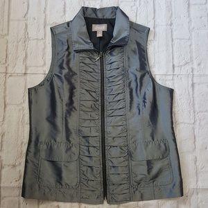 Chicos Ruched Metallic Zip Up Vest